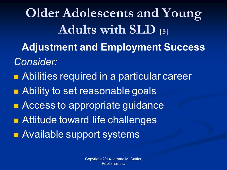 Older Adolescents and Young Adults with SLD [5]